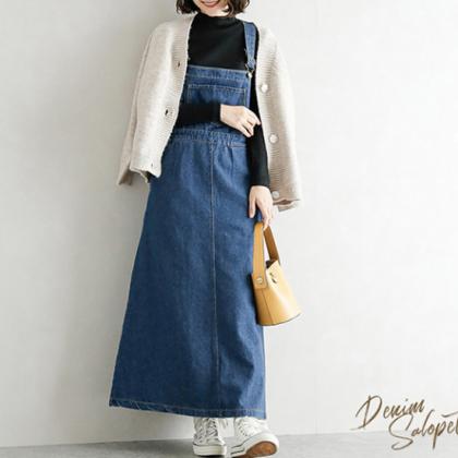 カジュアルでかわいい海外デザイン ゆったりロングのオーバーオールスカート 2色