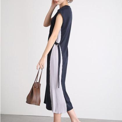 人気の海外デザイン 上品かわいいサイドプリーツのロングワンピース 7色
