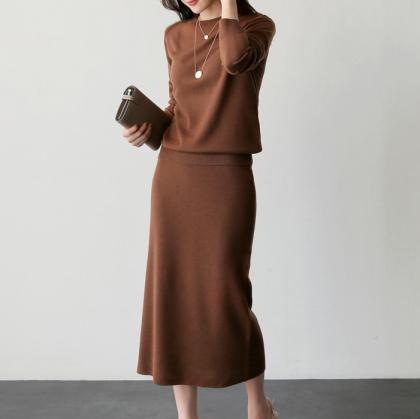 きれいめカジュアルな人気デザイン シンプルニットのスカートセットアップ 4色