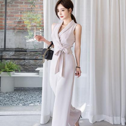 お呼ばれにもおすすめ 上品かわいいリボンのきれいめオールインワン パンツドレス