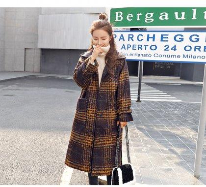 秋冬の人気スタイル ビックシルエットの大判チェック柄ロングコート 2色