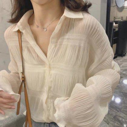 人気の海外デザイン ふんわりフェミニンなギャザーシフォンの長袖シャツトップス 2色
