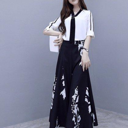 人気の2点セット エレガントなボタニカル柄のモノトーンセットアップ パンツドレス