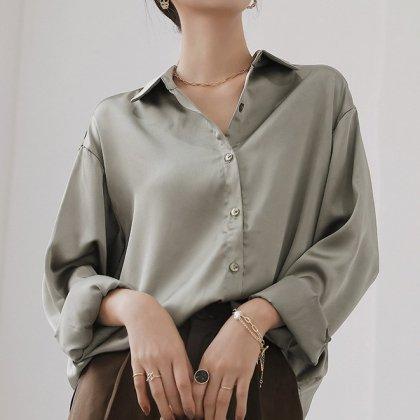 シンプルエレガントな海外デザイン 大人カジュアルな長袖シャツトップス 2色