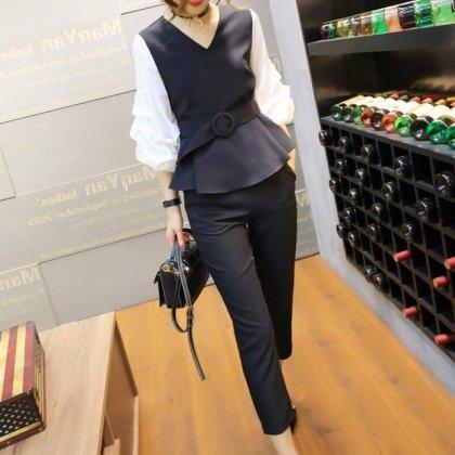 個性的でおしゃれな海外デザイン バルーン袖やペプラムがかわいいパンツセットアップ 2色
