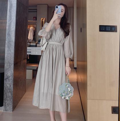 おしゃれに体型カバー ギャザースカートの長袖フレアロングワンピース カジュアルドレス 2色