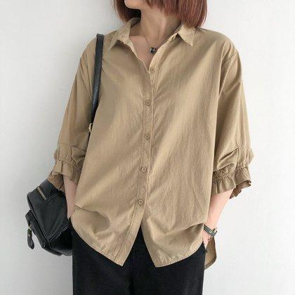 人気の海外デザイン 大人かわいいフリル付き袖ありシャツトップス 4色