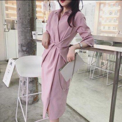 オフィスや通勤コーデにも 2way使えるシャツワンピース風きれいめスカートセットアップ 2色