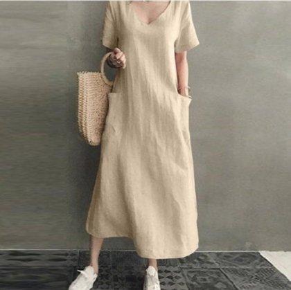 春夏のオフスタイルにおすすめ ゆったりカジュアルなVネックの半袖マキシワンピース 3色