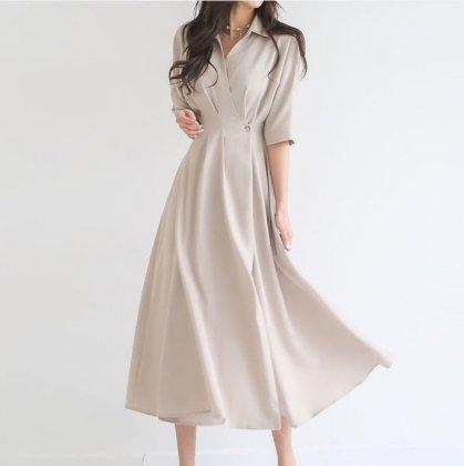 お呼ばれやフォーマルにもおすすめ 上品カシュクールの襟付きロング丈フレアワンピース 3色