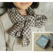 チェックバイオスカーフ<br>Bio-Check scarf<br>Beige/Black/Blue<br>『piccola su』 <br>16FW
