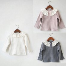 Rib frill T<br>Ivory/Gray/Pink<br>『nijiiro select』 <br>16FW<br>Pink/M