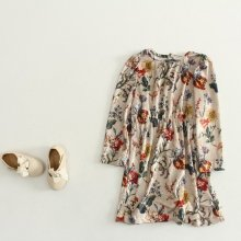 Antique Bella Dress<br>アンティークベロアワンピース<br>Flower<br>『Claudine』 <br>16FW