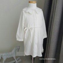 お花の襟のシャツワンピース<br>Flower collar shirt one piece<br>White<br>『eclair』<br>17SS<br>定価<s>5,900円</s>