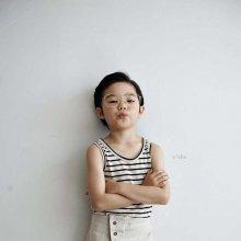Linen stripe sleeveless<br>oatmeal<br>『O'ahu』<br>18SS<br>定価<s>1,300円</s><b>20%Off</b>