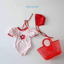 bebe flower swimsuit set<br>3 item set<br>『bebe de guno・』<br>20SS <br>定価<s>3,200円</s>