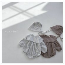 Check sailor romper bonnet set<br>2 color<br>『nunubiel』<br>21SS