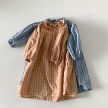 Roe Check One Piece<br>2 color<br>『de marvi』<br>21SS 【Stock】<br>Blue/XL・JS & Orange/JS