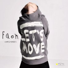 『Let's Move』 フードトレーナー<br>Gray/Blue<br><br>FaOn 2015AW<br>定価<s>4,900円</s><b>20%Off</b>