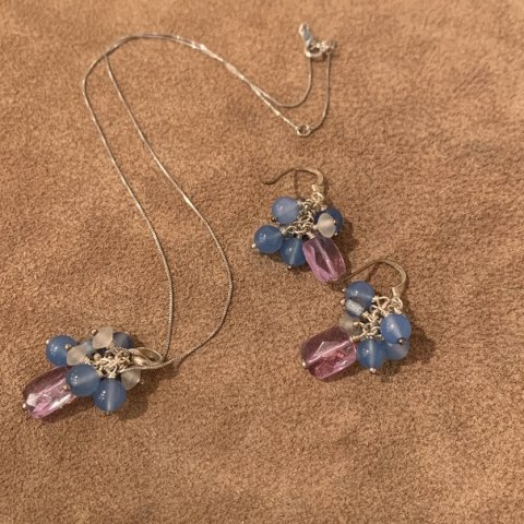 Pisces / Vintage Set of  Pierced Earrings and Necklace