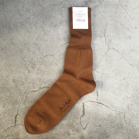 Olde H & Daughter / COTTON PLAIN JERSEY ANKLE SOCKS - TOBACCO