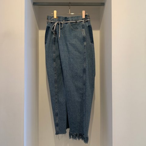 MAISON EUREKA / VINTAGE REWORK BIGGY PANTS - blue 001