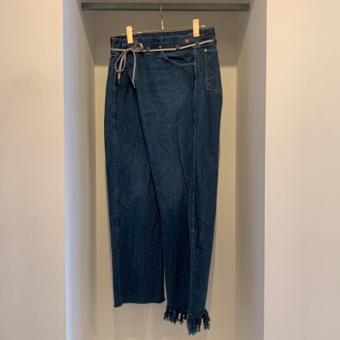 MAISON EUREKA / VINTAGE REWORK BIGGY PANTS - blue 002