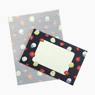 chitch 和紙風ミニレターセット(インコと牡丹)