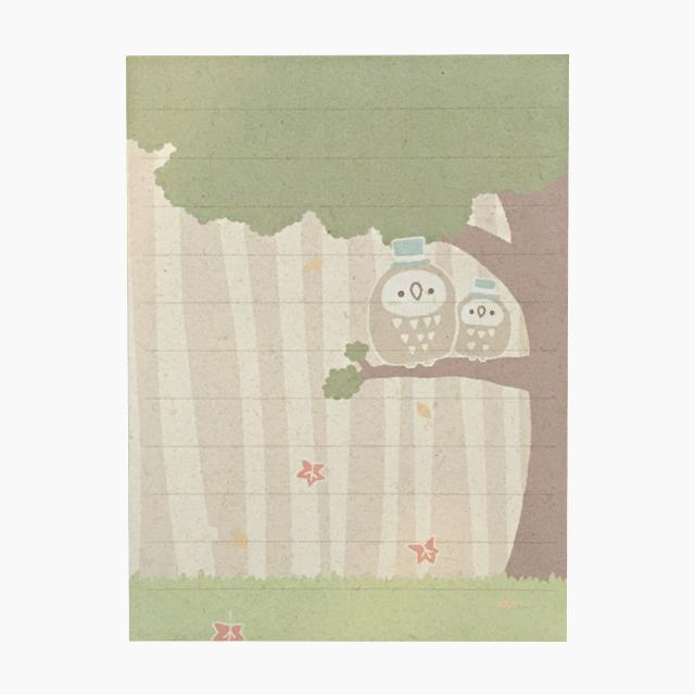 chitch 和紙風ミニレターセット(フクロウ親子) 商品の様子