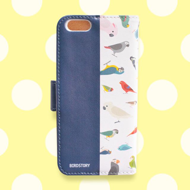 BIRD!BIRD!BIRD! 手帳型スマートフォンケース(ネイビー) 商品の様子