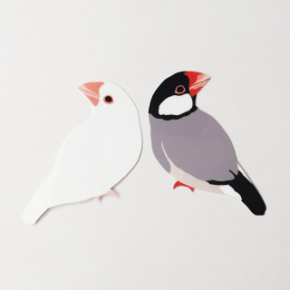 鳥デザインステッカー(文鳥)