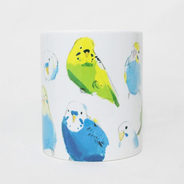 マグカップ(オクムラミチヨ / いろいろセキセイインコ) 商品の様子