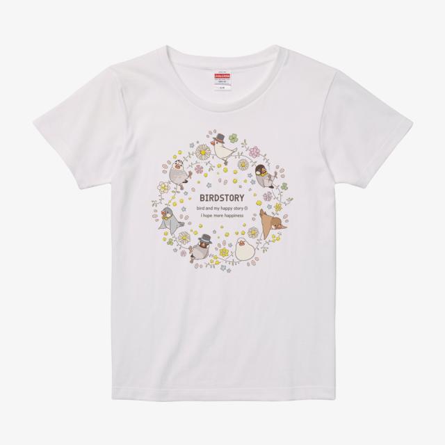 Tシャツ(ことりとおはな / 文鳥)