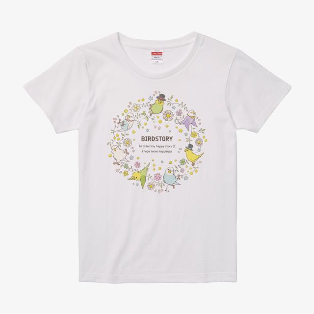 Tシャツ(ことりとおはな / セキセイインコ) 商品の様子