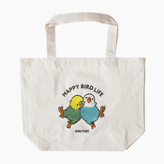 刺繍ランチトート(HAPPY BIRD LIFE セキセイインコ / ナチュラル)