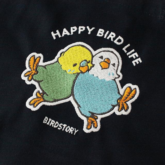 刺繍ランチトート(HAPPY BIRD LIFE セキセイインコ / ネイビー) 商品の様子