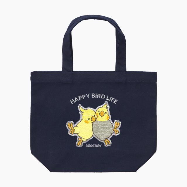 刺繍ランチトート(HAPPY BIRD LIFE オカメインコ / ネイビー)