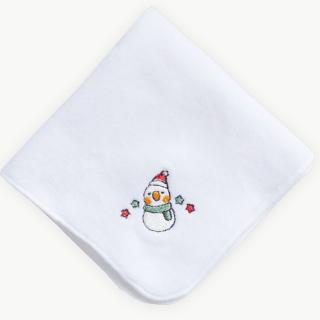 雪だるまオカメインコ(クリスマス限定カラー)刺繍ミニタオル
