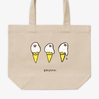 刺繍ランチトート(amycco. / sleepy ice creams / ナチュラル)