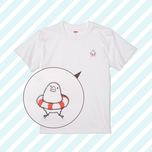 刺繍Tシャツ(ことり×うきわ / コザクラインコ)