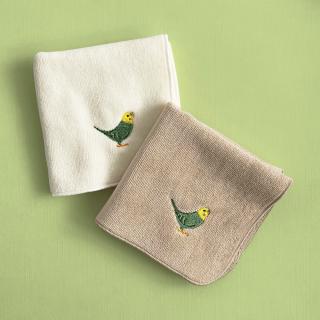 刺繍ミニタオル(セキセイインコ グリーン)