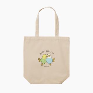 刺繍トートバッグ(HAPPY BIRD LIFE / セキセイインコ / ナチュラル)