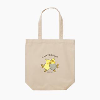 刺繍トートバッグ(HAPPY BIRD LIFE / オカメインコ / ナチュラル)