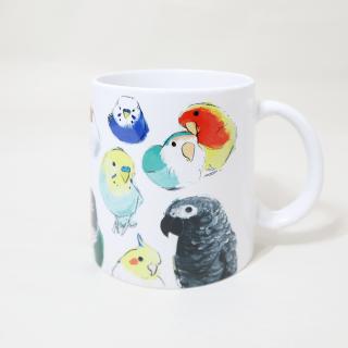 マグカップ(オクムラミチヨ / いろいろインコとオウムとフィンチ / C)