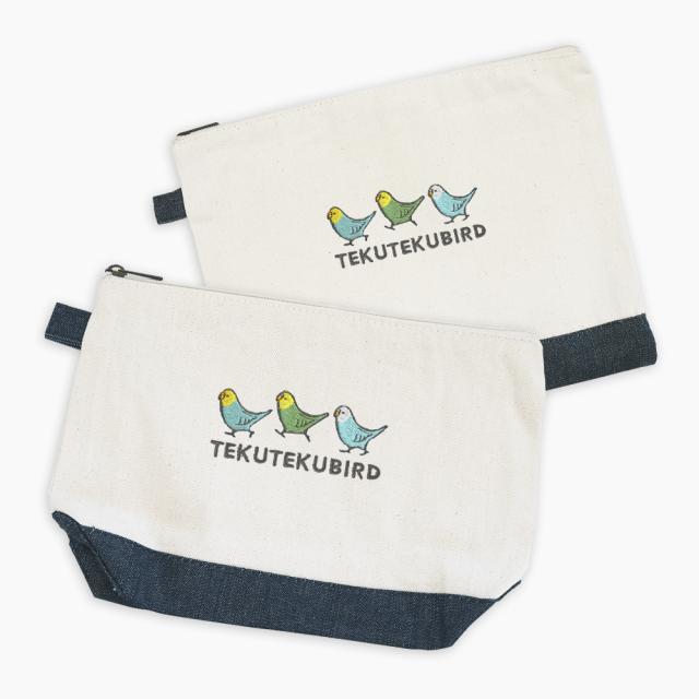 刺繍ポーチ(TEKU TEKU BIRD / セキセイインコ / ナチュラル×デニム)