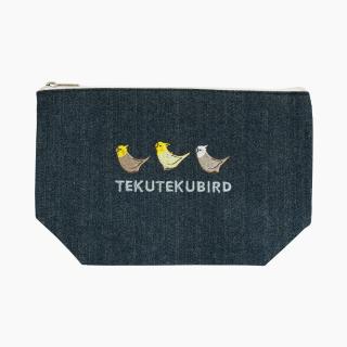 刺繍ポーチ(TEKU TEKU BIRD / オカメインコ / デニム)