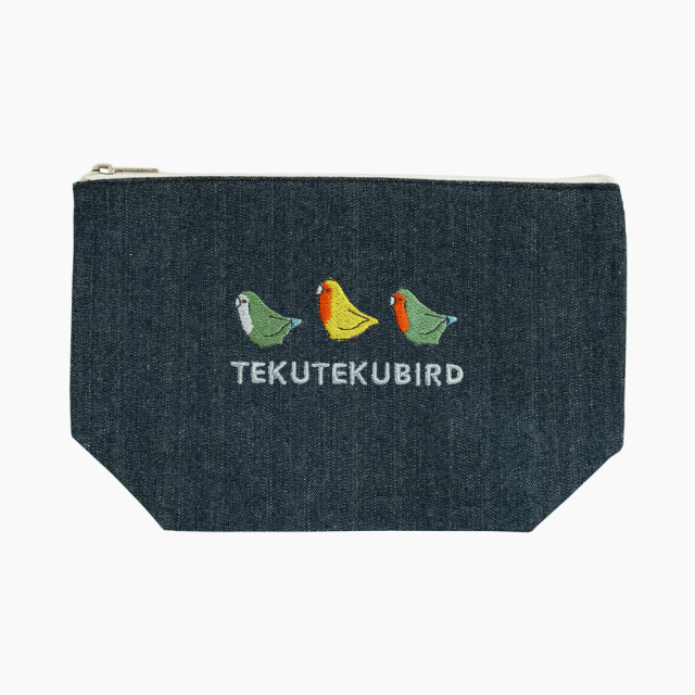 刺繍ポーチ(TEKU TEKU BIRD / コザクラインコ / デニム)
