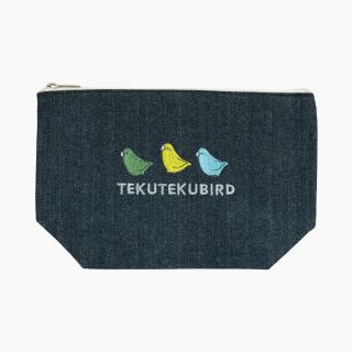 刺繍ポーチ(TEKU TEKU BIRD / マメルリハ / デニム)