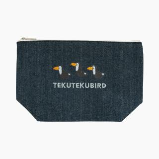 刺繍ポーチ(TEKU TEKU BIRD / オニオオハシ / デニム)