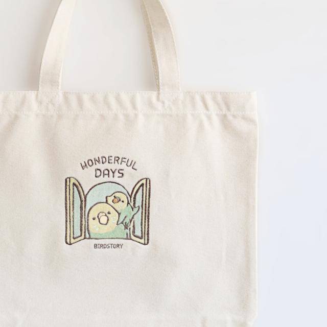 刺繍トートバッグ(WONDERFUL DAYS / セキセイインコ / グリーン)